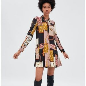 Zara patchwork gold chain Print PLEATED dress